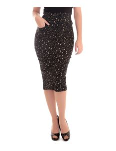 Collectif Nomi Black and Gold Atomic Star 50s Style Pencil Skirt