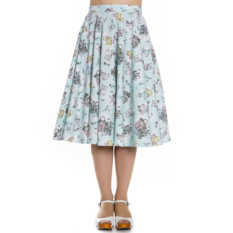 29a9196a383 Hell Bunny 50s Style Bunny Lamb Chicks Skirt Mint