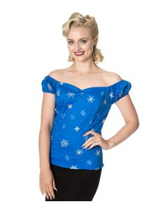 Dancing Days Romance Lives Blue 50s Snowflake Top