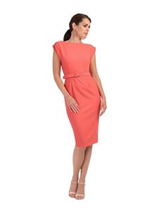 Zoe Vine Coral Ruched Shoulder Mae Dress