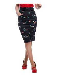 Collectif Kayleigh True Love Swallow Black Pencil Skirt