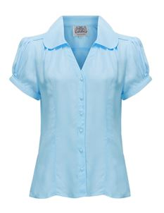 Judy Blouse 40's Blue - The Seamstress of Bloomsbury
