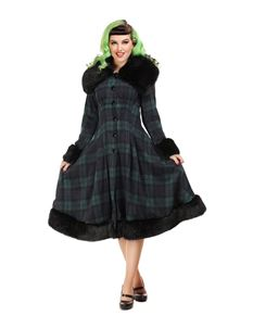 Collectif 30s 40s 50s Pearl Blackwatch Check Swing Coat