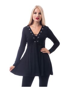 Innocent Haily Alternative Gothic Black Tunic Top