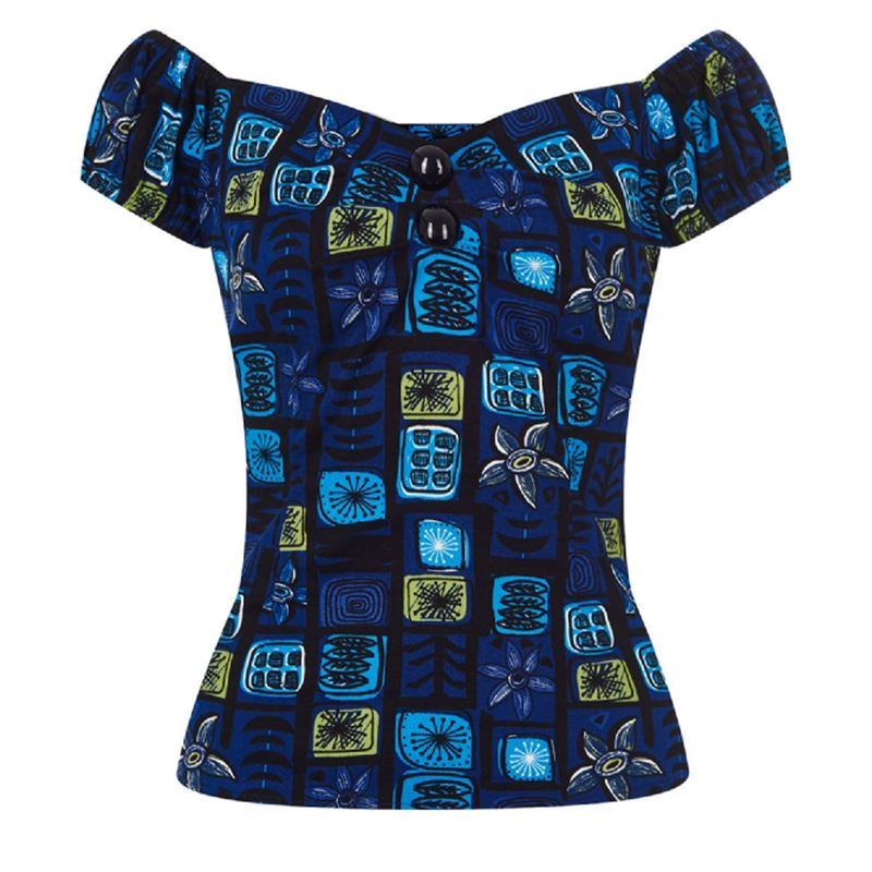 ccd05afe3c Collectif 50s Style Dolores Blue Abstract Floral Top