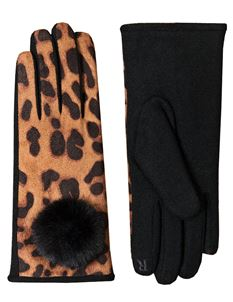 Pia Rossini Talita Leopard Print Wool Gloves With Faux