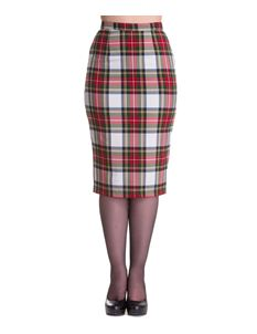 Hell Bunny 50's Jodie Tartan Pencil Skirt White Green
