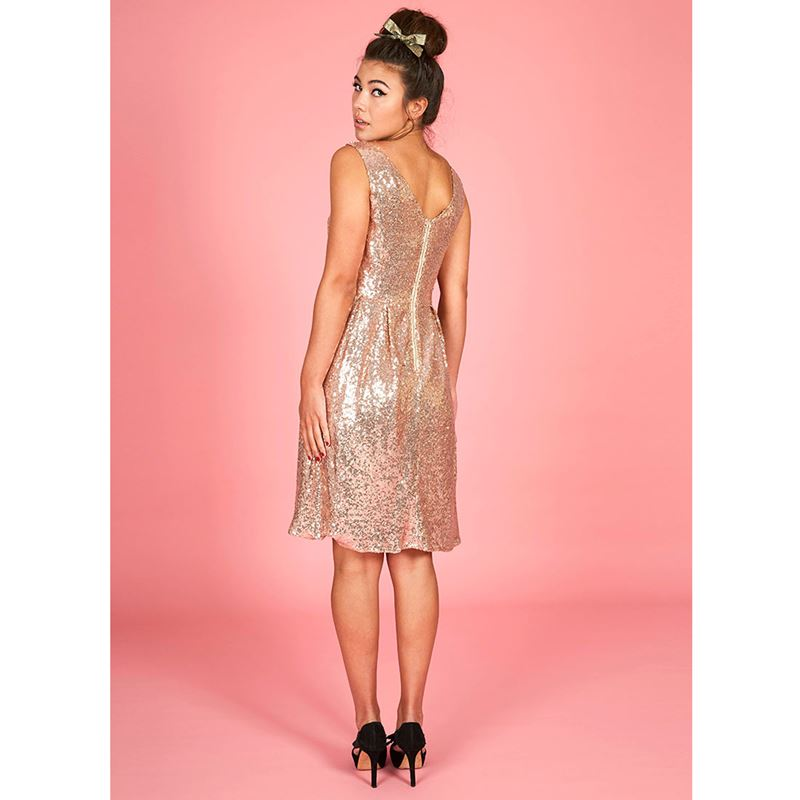 Joanie Clothing Uma Rose Gold Sequin Dress