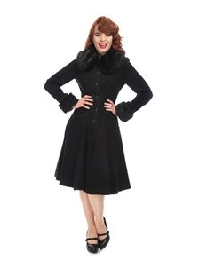 Collectif 50s Faux Fur Collar Alise Black Swing Coat