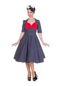 Dolly And Dotty Lillian Polka Dot Swing Dress Navy Blue