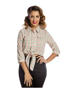 Lindy Bop Remi Gingham Checked 50s Tie Front Shirt