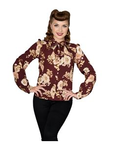 Sheen Ariadne Long Sleeve Blouse In Burgundy & Gold