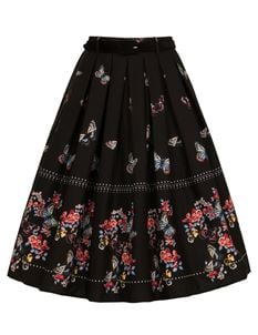 Hell Bunny Laeticia Butterfly Floral 50s Pleated Skirt