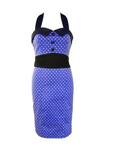 H&R London 50's Pencil Wiggle Dress Polka Dot Blue