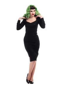 Collectif Helene Black Long Sleeved Pencil Dress