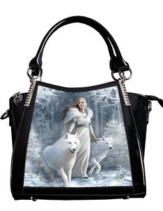 Anne Stokes 3D Winter Guardians Wolf PVC Black Handbag