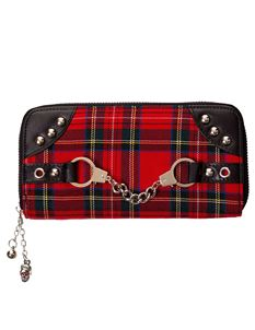 Banned Alternative Red Tartan Handcuff Wallet Purse