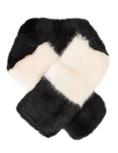 Pia Rossini Tatiana Black & White Faux Fur Collar Scarf
