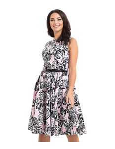 Voodoo Vixen Sally Flared Pink And Black Floral Dress