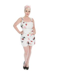 Hearts & Roses White Pink Rose Print Playsuit