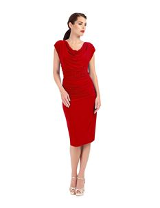Zoe Vine Berry Red Ruched Pencil Dress