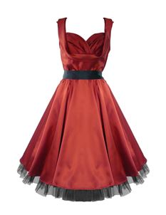 SALE H&R London 50's Deep Red Satin Evening Cocktail Dress