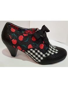 Irregular Choice End Of Story Cherry Lace Up Mid Heels