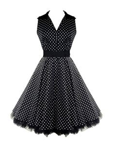 H&R London 50's V-Neck Prom Dress Black