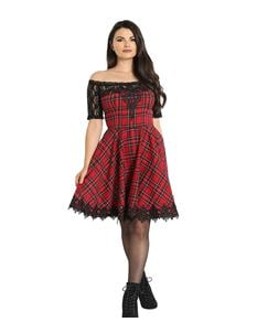 Hell Bunny Amara Red Tartan Lace Alternative Mini Dress