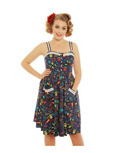 Lindy Bop 'Corinna' Fiesta Print Swing Dress