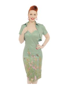 Lindy Bop ZsaZs Green Countryside Wiggle Dress & Bolero
