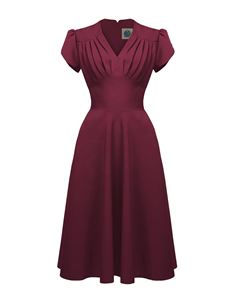 Pretty Retro 40s 50s Style Swing Dress In Burgundy Wine