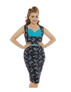 Lindy Bop Vanessa Cheshire Cat Wiggle Dress With Belt