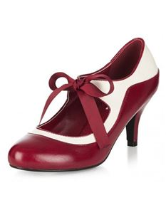 Collectif Lulu Hun Jeanie Lace Up Burgundy Heels Shoes