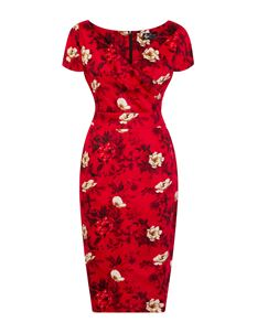 Lady Vintage Ursula Wild Roses On Red 50s Wiggle Dress