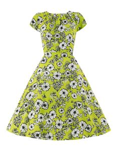 Lady Vintage 50's Summer Floral Day Dress Lime