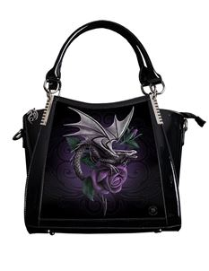 Anne Stokes 3D Dragon Beauty Fantasy PVC Black Handbag