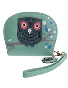 Poisoned Owl Carry Coin Purse Wallet In Green & Pink