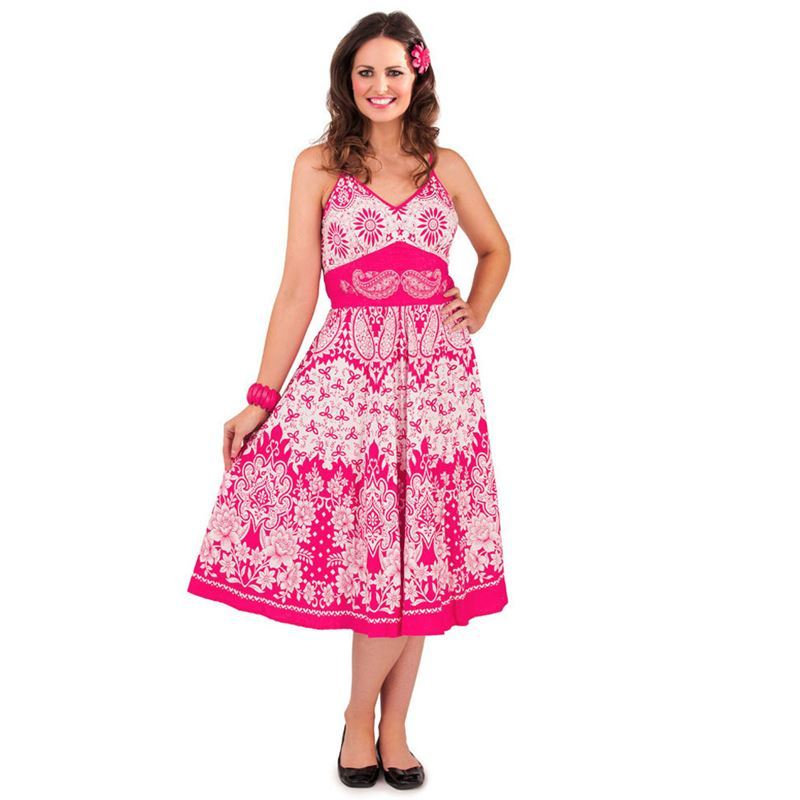 D403 Floral Paisley Summer Beach Sun Dress Cerise Pink