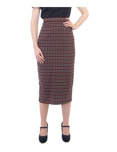 Collectif Miranda Wine Red and Navy Tartan Check Skirt