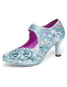 Joe Browns Charlotte Couture Sky Blue Floral Shoes