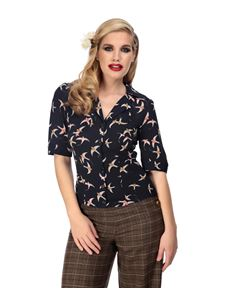 Collectif Aubrey 40s WW11 Style Blue Swallow Crepe Top