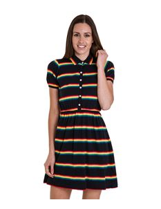 Run & Fly Rainbow Skater Dress Navy