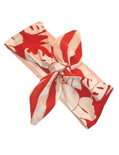 Gas Axe Inc Hawaii Flower Rockabilly Red And White Head Scarf Tie