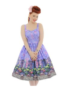 Lindy Bop Imelda Purple Paris City Print Swing Dress