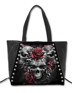 Spiral Direct Skull n Roses Stud Tote Alternative Bag