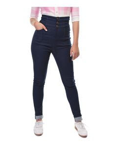 Collectif Nomi Navy Blue 50s Style High Waisted Jeans