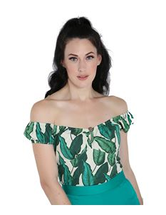 Hell Bunny Rainforest Leaf 50s Rockabilly Top Ivory