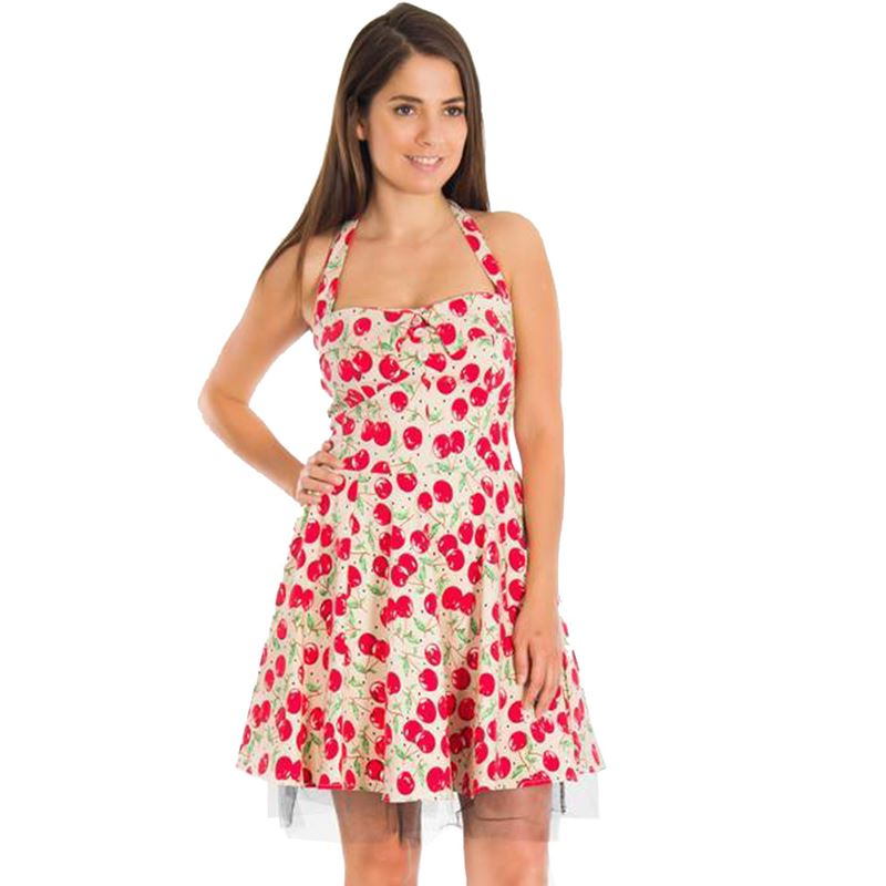 Bettie Vintage Cream Cherry Summer Mini Dress