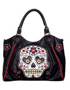 Dancing Days -Banned 50s Black Sugar Skull Shoulder Bag